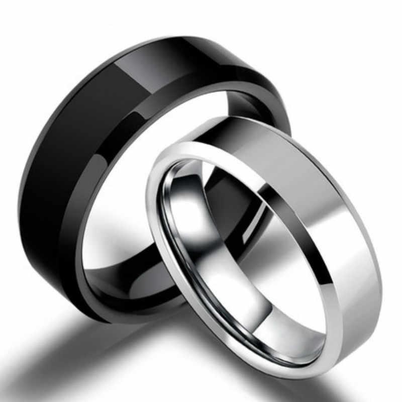 1 個ファッショナブルな魅力チタンリングゴールド抗アレルギー滑らかなシンプルな結婚式のカップルリング宝石類男性または女性ギフト