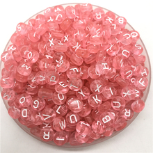 100pcs 7mm Letter Beads Pink Mix Oval Shape 26 Alphabet Charms DIY Beads For Bracelet Necklace Jewelry Making
