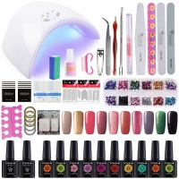 COSCELIA 36W Nail Lamp Kit Nail Gel Manicure Set Nail Art Kits 10 Gel Polish Varnish Primer Top and Base Nail Extension Set