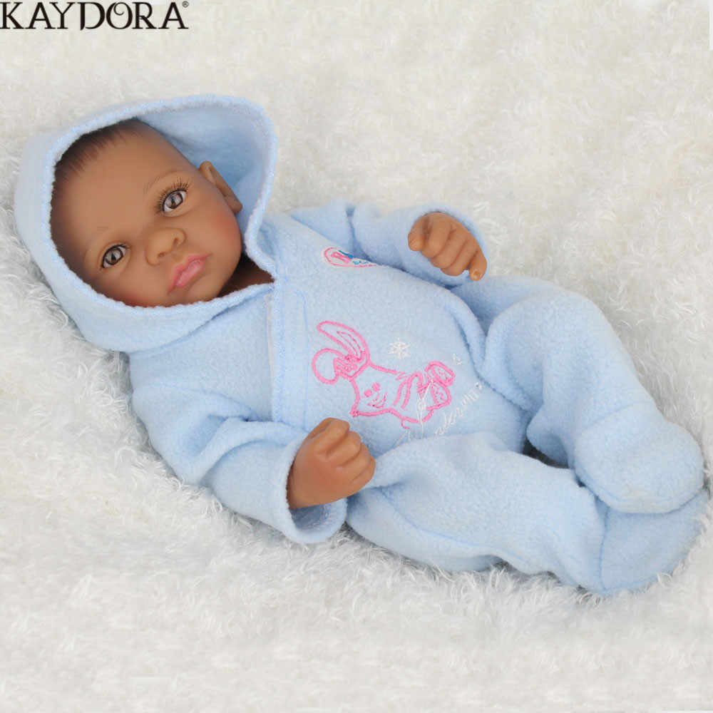 KAYDORA Doll Bebes Reborn Silicone Full Reborn Baby Doll Toys For Children 10 Inch Lifelike Baby Alive Black Skin African Doll