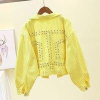 Rivets Short Denim Jacket Women Spring Autumn Fashion Big size Loose Pink Jeans Jacket Long sleeve Outerwear Women Yellow Coats