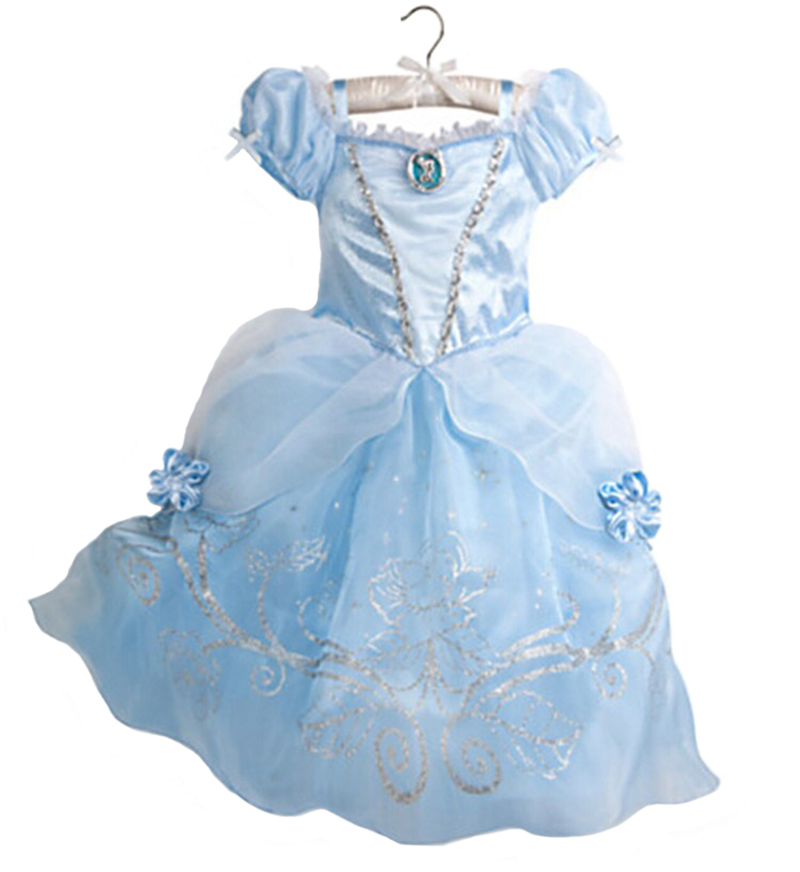 цены  2017 Girls Dress Cinderella Costume for Kids Rapunzel Belle Sofia Princess Dress Children Party Dress Cosplay Costume Vestidos
