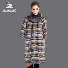 SISILIA 2016 Новый стиль женская мода silver fox пальто, натуральная Кожа, Цвета Silver fox сустава, мода натуральный мех пальто