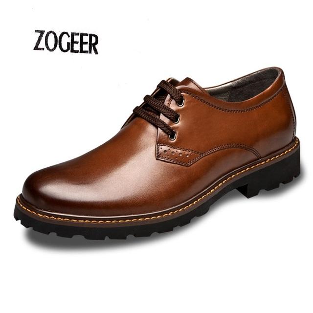 Diseñador de la marca Para Hombre de Cuero Genuino Oxfords Zapatos Para Vestido de Fiesta Zapato de la Oficina de negocios Masculino Otoño Negro Zapatos de Los Hombres Planos Del Cordón arriba