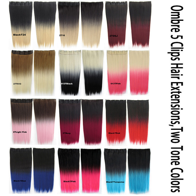 """5PCS/LOT+28 Colors 24"""" 60cm 130G Ombre Clips in On Hair Extensions Straight 5 Clips In Hairpieces Slice Two Tone Hair Extension"""