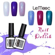 LEMOOC 8ml Holographic UV Gel Glitter Platinum Nail Polish Purple Blue Shimmer Manicure Soak Off Art Varnish