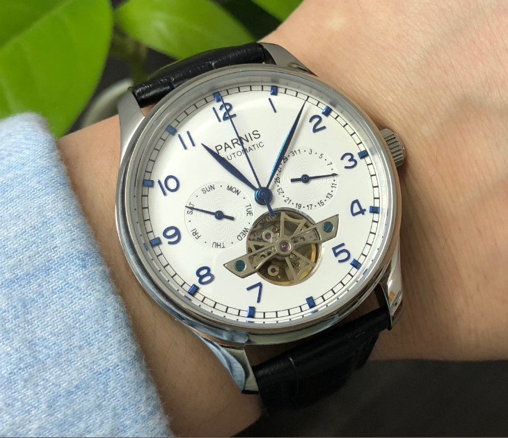 Sapphire crystal or mineral glass 43mm PARNIS Automatic Self-Wind Mechanical movement men's watch  Auto Date  and week  pa149-p8(China)