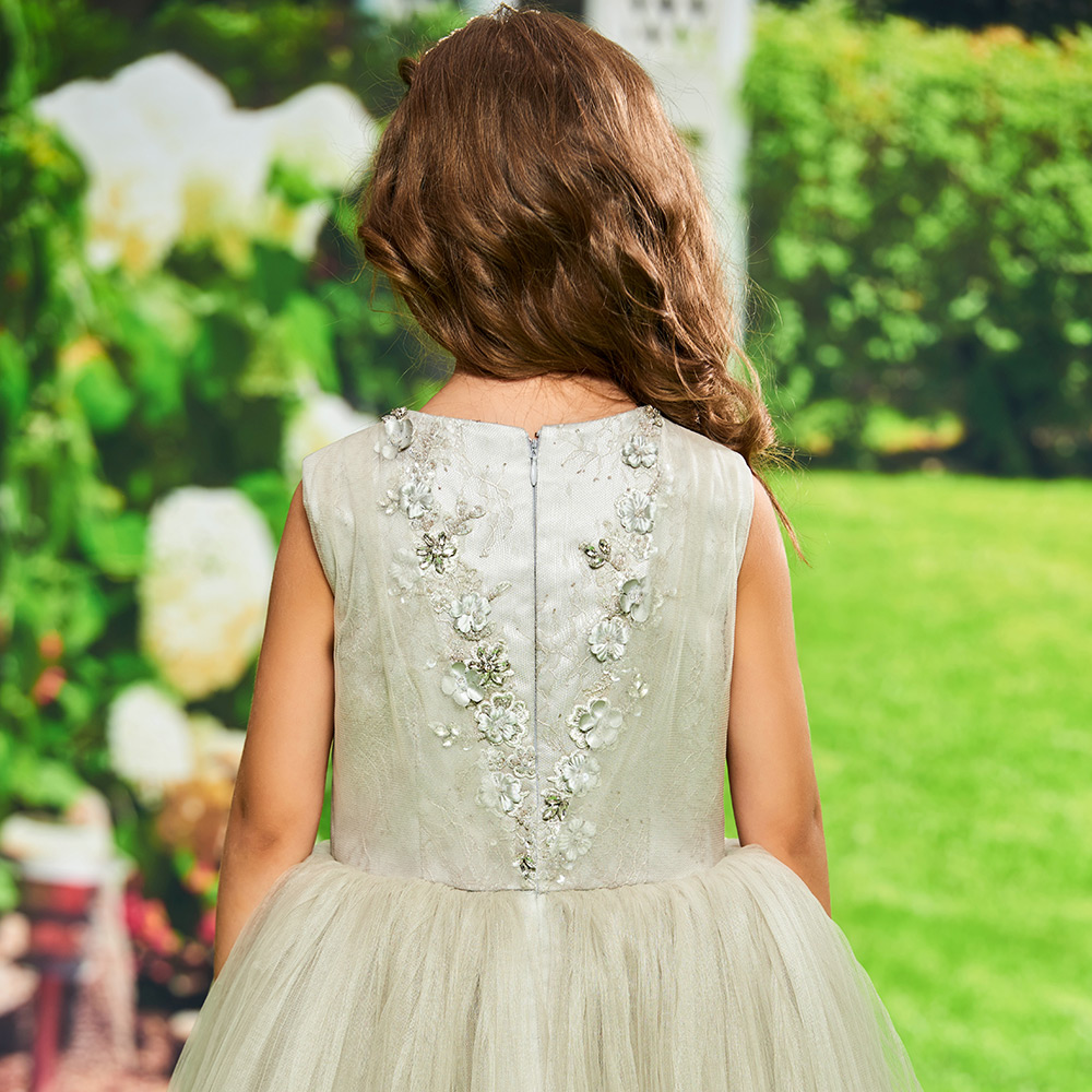 US $159 09 |Dressv silver flower girl dress appqiues ball gown beading  birthday party knee length zipper up tulle flower girl dress custom-in  Flower