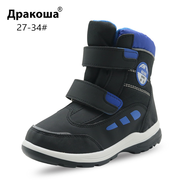 US $18.07 35% OFF|Apakowa Boys Winter Snow Boots Kids Warm Woolen Ankle Boots for Little Boy School Outdoor Skiing Hiking Mountaineering Shoes in