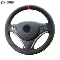 GNUPME Black DIY Hand Stitched Suede Steering Wheel Cover for BMW E90 325i 330i 335i Car Interior accessories