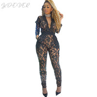 Doyerl Sexy Sheer Black Lace Jumpsuit Bodysuit Women Sequin See Through Hollow Out Long Sleeve Rompers Long Pants Party Overalls