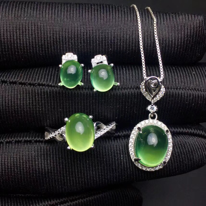 Columbia natural emerald set ring earrings necklace fashionable with new design quality 925 Silver multi line high quality fashionable opening ring