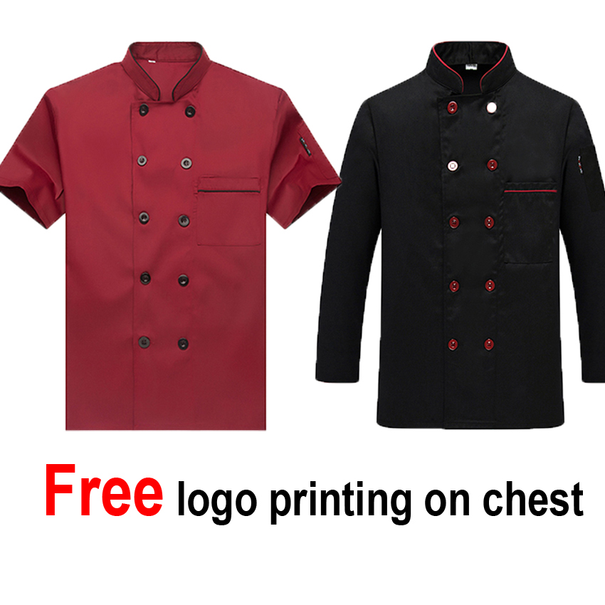 Free Logo Printing Solid Polyester&cotton Chef Jacket Restaurant Kitchen Cook Wear Bakery Coat Breathable Tops Tees
