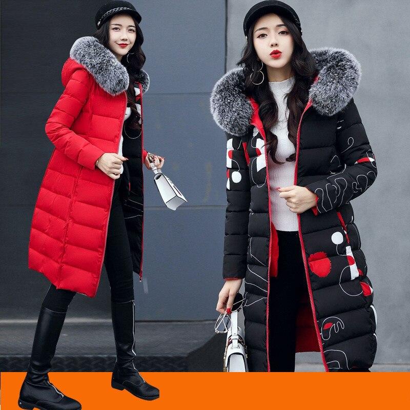 2018 Winter Coat Women Long Cotton Clothes Winter Slim Two Wear Long Thick Cotton Jackets Women   Parkas   Print Female Coats A1116