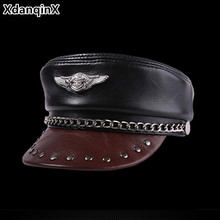 XdanqinX Genuine Leather Cap Elegant Flat Caps For Men Women Cowhide Military Hats Personality Hip-hop Brands Snapback