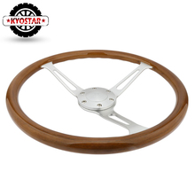 """Wooden 380mm 15"""" Classic steering wheel Chrome Spoke Vintage Classic Wood Grain Steering wheel"""