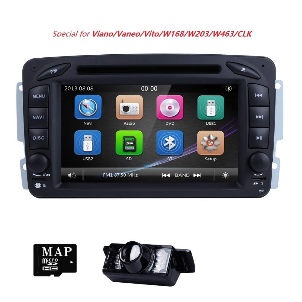 AutoRadio 2 Din DVD de Voiture Lecteur Multimédia Pour Mercedes Benz vito w639 CLK C-209 W203 W168 ML W163 W463 viano Vaneo1998-2006Audio