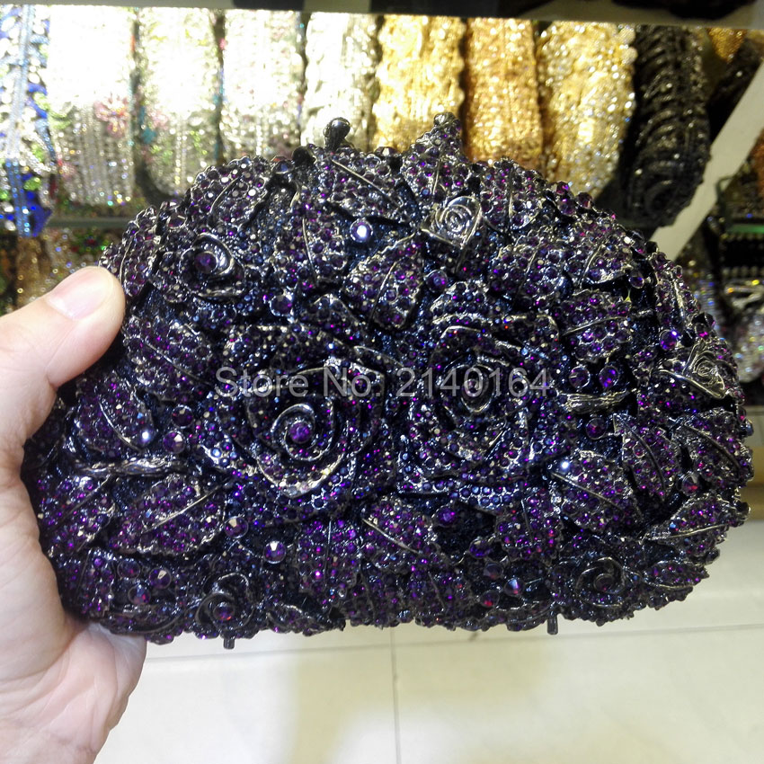 A Bouquet of Roses Shell Shape purple Crystal Clutches Romantic Evening Bag Diamonds Party Handbag 88303 environmentally friendly pvc inflatable shell water floating row of a variety of swimming pearl shell swimming ring