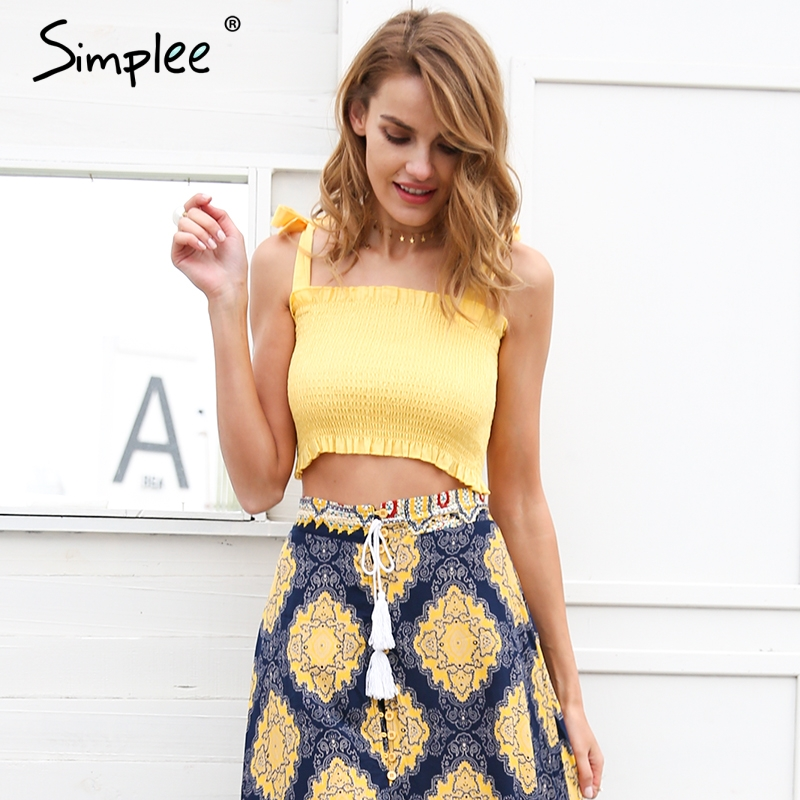 Simplee Ruffle strap tank top tees women crop top Casual fitness dot tube top camisoles Boho print beach summer tops female