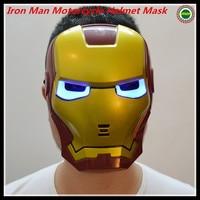 2015 Hot selling Free Shipping Iron Man Motorcycle Helmet Mask Tony Stark Mark Cosplay Mask with LED Light