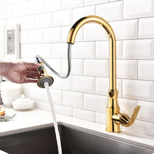 Kitchen Faucet Pull out Cold And Hot Water Mixer Sink Faucet Deck Mounted Single Handle Brass Kitchen Tap Gold/Chrome/Brushed стоимость