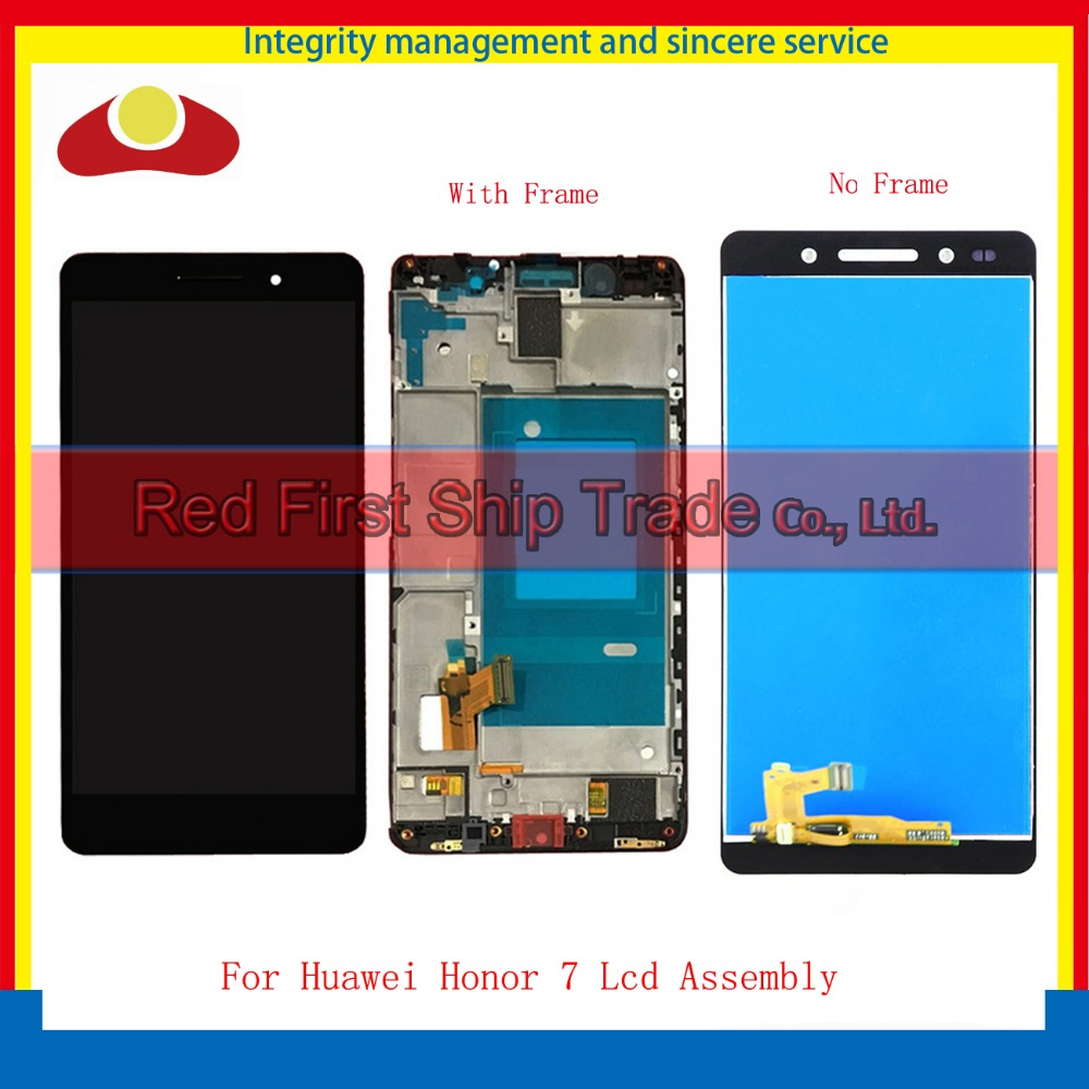 High Quality For Huawei Honor 7 Lcd Display Assembly Complete + Touch Screen Digitizer Sensor Black White Gold With Frame high quality for iphone 4 4g 4s full lcd display touch screen digitizer sensor assembly complete with frame bezel white black