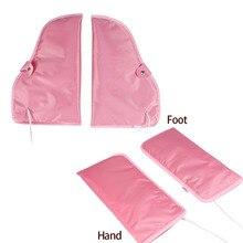 1 par elétrico luvas de manicure da arte do prego luvas aquecidas mitts terapia de cera infravermelha tratamento spa mais quente para o pé cuidados com as mãos ferramentas