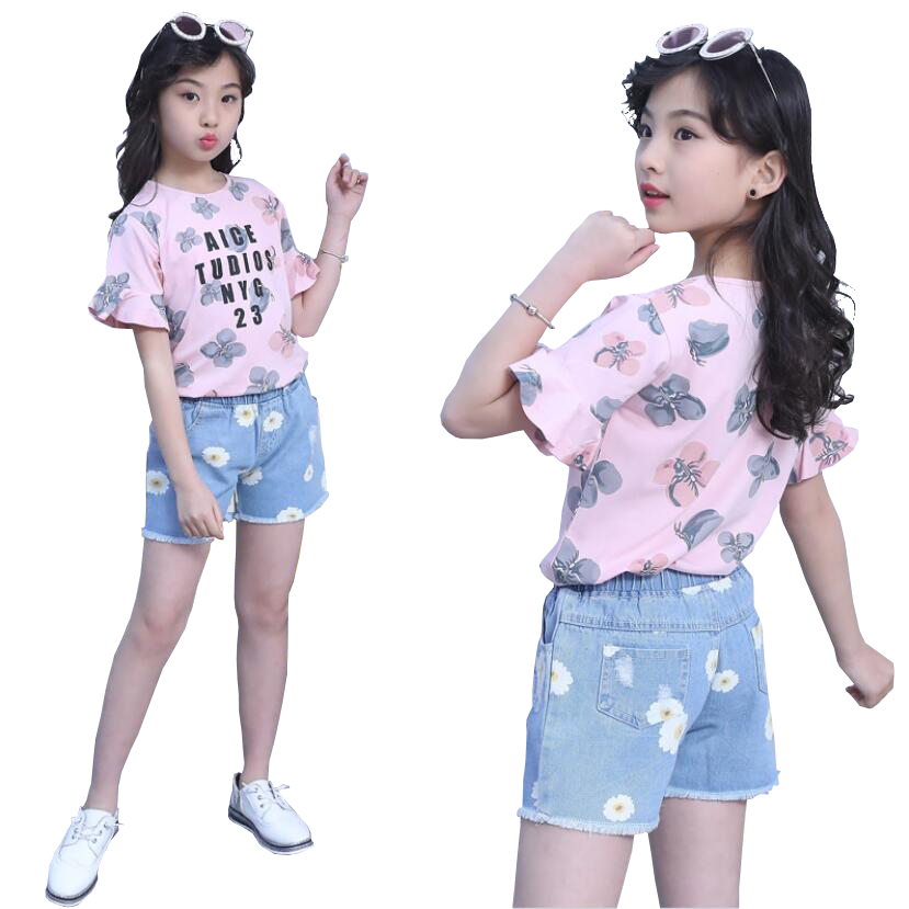 Ladies clothes units 3-11 child ladies T-shirt+pants 2pcs/set garments teenage children summer season quick sleeve shirt+costume youngsters outwear Clothes Units, Low-cost Clothes Units, Ladies clothes units 3 11 child...