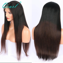 Deep Middle Parting 13x6 Human Hair Lace Front Wigs Silky Straight Peruvian Remy Hair 130% 150% Density Two Tone Color Qearl