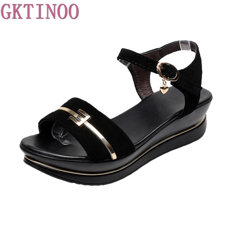 Fashion Genuine Leather Sandals 2017 New Low Wedges Summer Shoes Gladiator Open Toe Platform Sandals plus size 35-43 handueke new 2017 genuine leather gladiator sandals summer beach shoes woman fashion wedges platform sandals women casual shoes