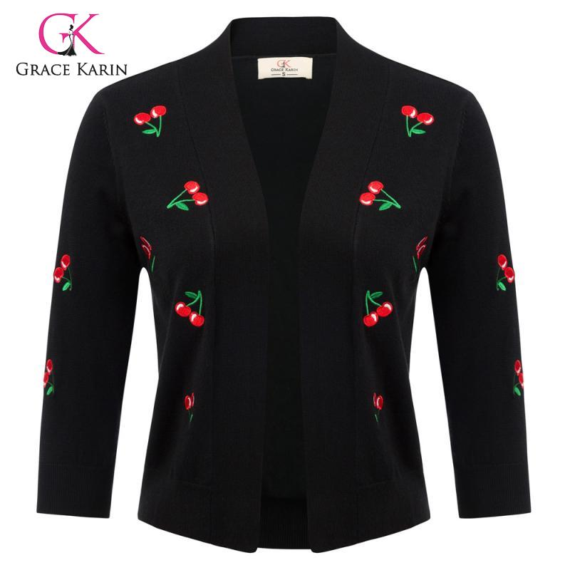 Gk Women Coat 3/4 Sleeve Cherries Embroidery Open Front Bolero Shrug Cardigan Women Knitwear Soft Comfortable Coat Jackets image