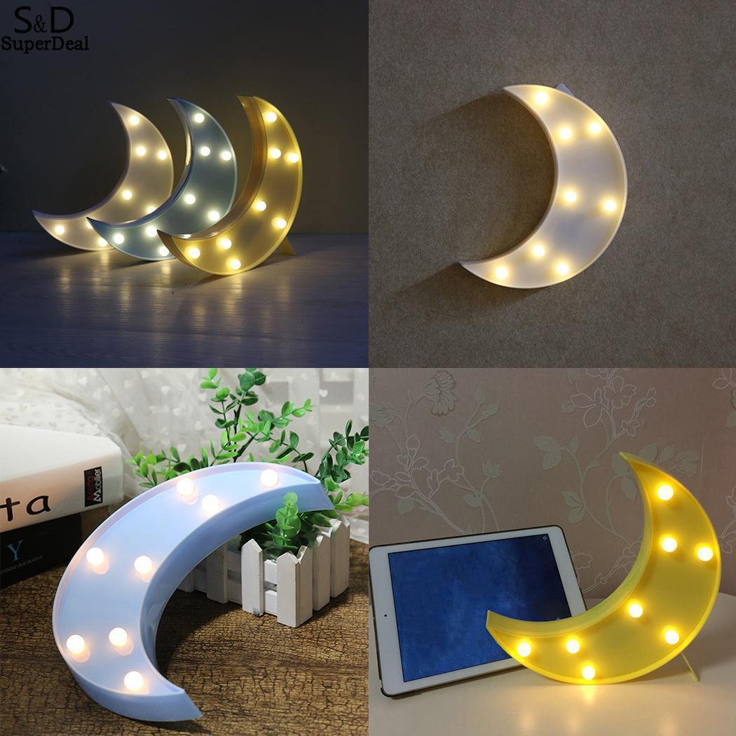 Home Shape Marquee Light With 8 Warm White LEDs Bulbs Light Wall Moon Decotation