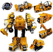 Трансформация Робот Автомобиль Сплава Металла Инженерное Сооружение Транспортного Средства по Сборке Грузовиков Деформации Игрушки 5 в 1 Робот Детские Игрушки P658