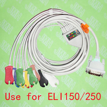 Compatible with 15PIN Mortara ELI 150/250 EKG Patient monitor the One-piece 10 lead ECG cable and clip leadwires,IEC or AHA. image