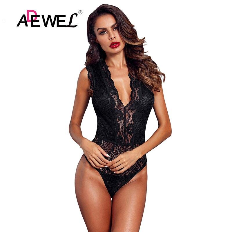 Adewel Frauen Schwarz Hohl-out Spitze Bodysuit Sexy Ärmel V Neck Körper Tops Weibliche Club Tragen Dünne Transparente Bodys