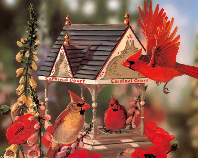 3d diy diamond painting cardinals bird house square diamond embroidery cross stitch needlework wall sticker
