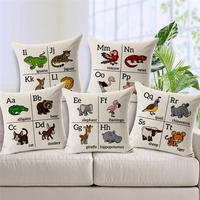 Decorative Pillow Case Learning English letters with cartoon animals Pillowcase Cotton Linen Pillow Cover Pillowslip A447