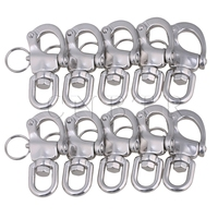 CNBTR 67x39mm Silver Stainless Steel 304 Swivel Snap Shackle with Swivel Bail Small Size Pack of 10