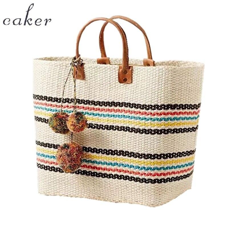 Caker бренд 2017 Для женщин соломенная сумка контраст Цвет Для женщин полоса сумки большие Tote узор Для женщин пляжные Цвет ful кисточкой сумка