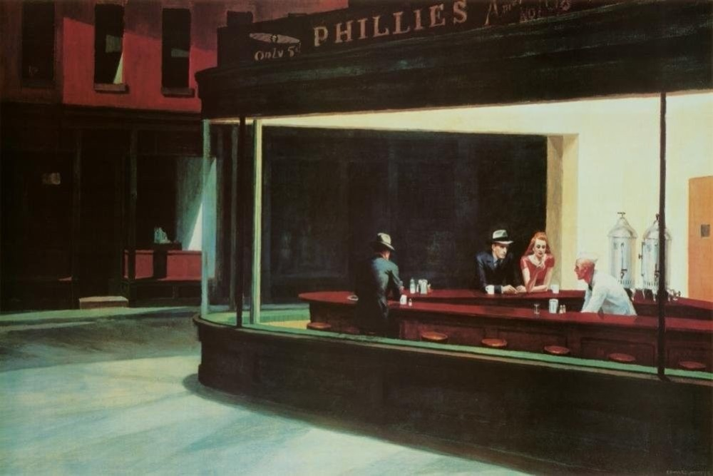 b63c6dde02dac Home Decor Edward Hopper Nighthawks-Silk Art Poster Wall Sicker Decoration  Gift