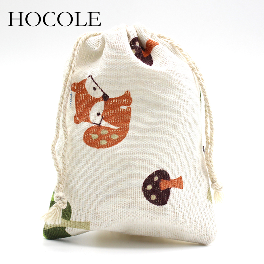 HOCOLE 5Pcs/Lot Flower Cherry Fox Print Linen Drawstring Pouch Bag Handmade Gift Christmas Candy Jewelry Cosmetic Bags 10*14cm