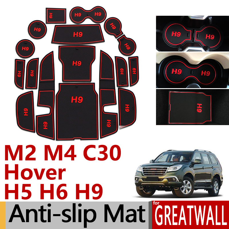 Anti-Slip Rubber Gate Slot Cup Mat For Great Wall H2 Coolbear H5 H6 H9 M4 Florid Voleex C30 GreatWall Accessories Stickers 2015