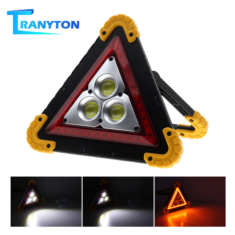 LED Portable Lantern Multi-function Triangle Warning Light COB Led Floodlight Car Repairing Work Lamp SOS Camping Flood Light