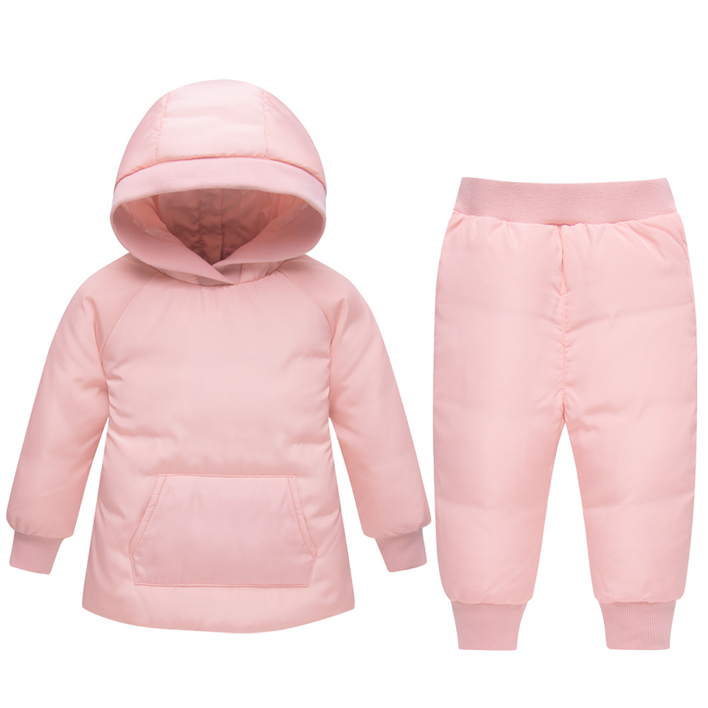 2018 New Winter Warm Baby Boys Girls Down Jacket Clothes Set Kids Hooded Jacket Children Boys Girls Coat Pattern Suit Set winter children baby down jacket set long sleeve down coat pants set boys girls baby winter warm coat trouser suit