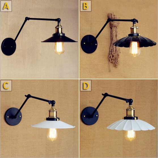 Adjsutable Long Arm Vintage Wall Light Fixtures Living Room Edison ...