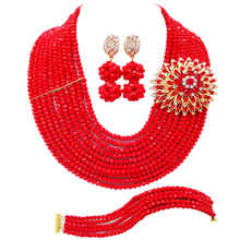 Opaque Red Nigerian Wedding Accessories African Beads Jewelry Set Crystal Stand Necklace Bridal Party Jewelry Sets 10DS09 2018 nigerian wedding african beads jewelry set brand woman fashion dubai gold color jewelry set nigerian wedding bridal bijoux