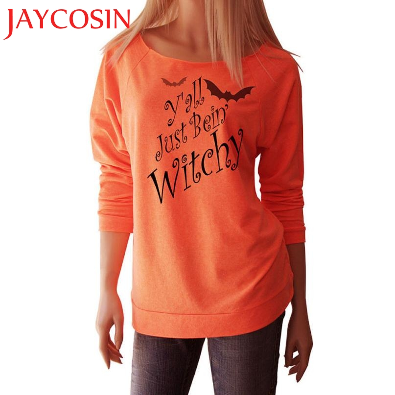 2017 New Style Halloween Women Witchy Printed Long Sleeve Tops Suitable Blouse Shirt Casual Cloth Festival Gift Drop Shipping807
