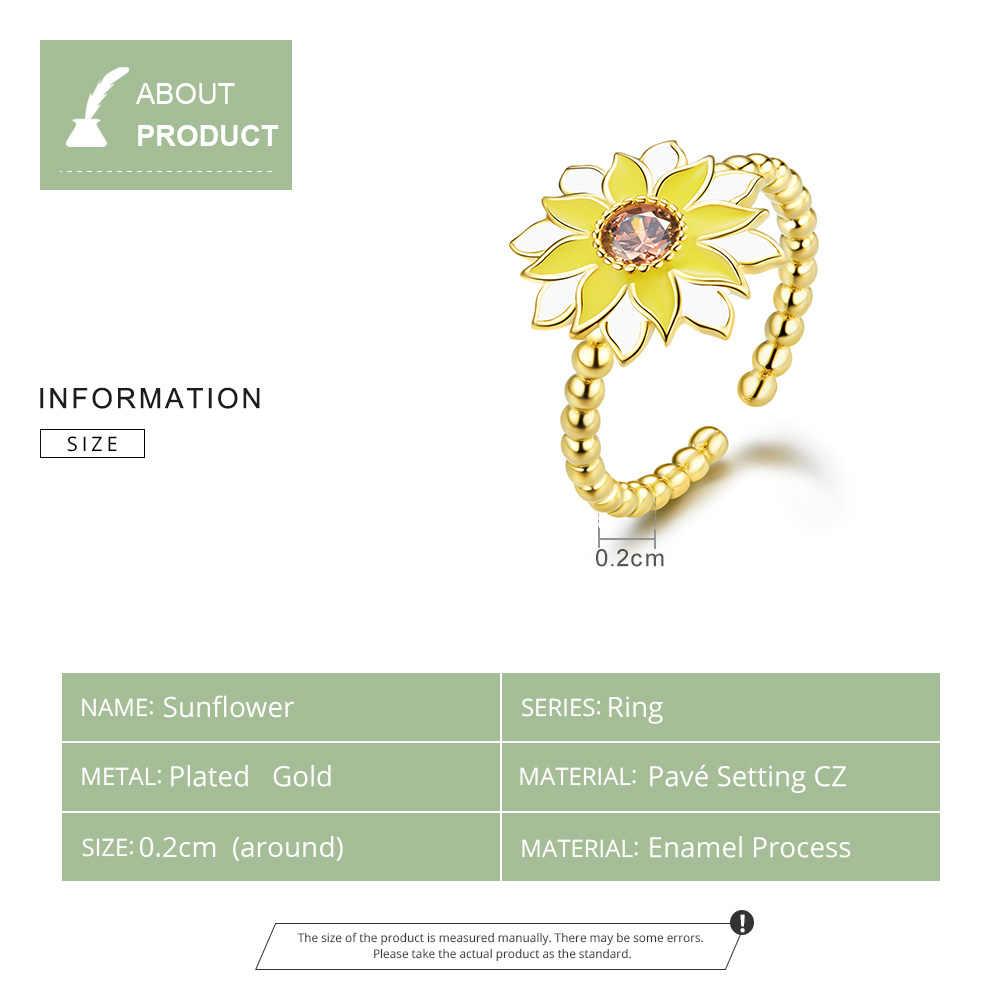 Bamoer เคลือบ Sunflower Finger แหวนแฟชั่นสไตล์เกาหลีแหวนสีทองเงิน 925 โลหะ Bijoux ของขวัญ BSR054
