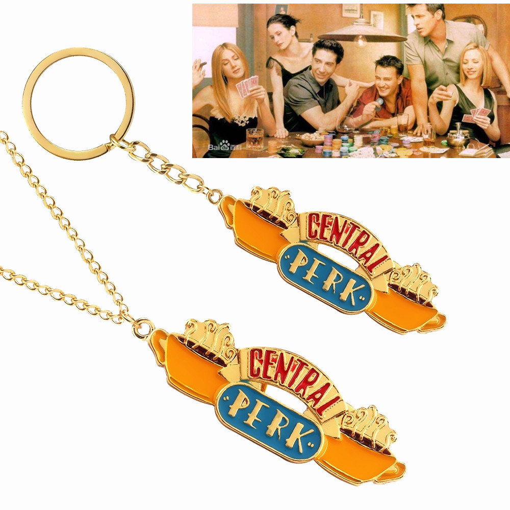 Hot Friends TV Show Jewelry Central Perk Coffee Time Keyring KeyChain Pendant Necklace For Good friend's Gift llaveros Choker image
