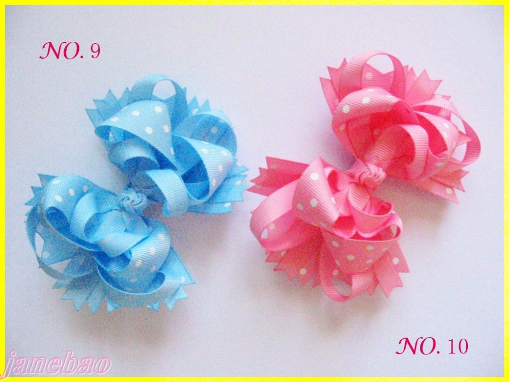 free shipping 50pcs  4.5'' polka dot Hair Bow Girl Funky boutique bows Layered Hairbows-in Hair Accessories from Mother & Kids    2